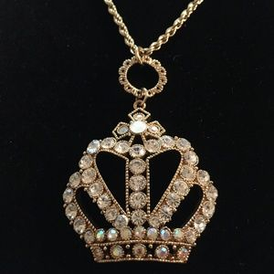 Betsey Johnson Crystal Crown Necklace